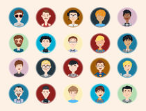 Stylish male people characters collection of various occupation, profession and other social individuals portrait. Stock Photography