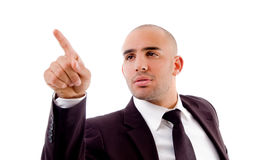 Stylish male pointing with finger Stock Photos