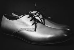 Stylish male shoes. In blackly white color Royalty Free Stock Photo