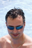 Stylish Male with Sunglasses. In Pool Stock Photos
