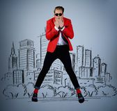 Stylish man against city panorama Royalty Free Stock Images