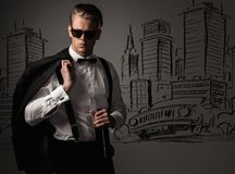 Stylish man against city panorama Stock Photos