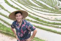 Stylish man in Asian rice terraces stock photography