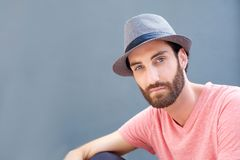 Stylish man with beard and hat Stock Photography