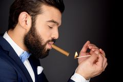 Stylish man with beard lighting cigar Stock Photography