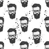 Stylish man with a beard. Man with long hair and glasses. Print on clothes. Barbershop. Stock Images