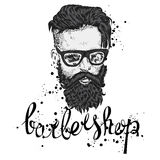 Stylish man with a beard. Man with long hair and glasses. Vector illustration for a card or poster. Barbershop. Royalty Free Stock Images