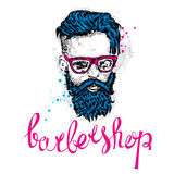 Stylish man with a beard. Man with long hair and glasses. Vector illustration for a card or poster. Barbershop. Stock Photography