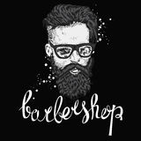 Stylish man with a beard. Man with long hair and glasses. Vector illustration for a card or poster. Barbershop. Royalty Free Stock Photo
