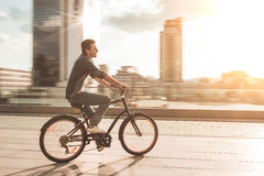 Stylish man on bicycle Royalty Free Stock Images