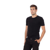 Stylish man in black clothes isolated on white. Stock Image