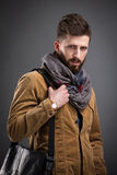Stylish man with black leather bag Stock Image