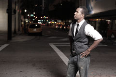 Stylish man in the city at night Royalty Free Stock Images