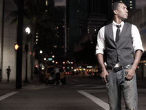 Stylish man in the city at night Royalty Free Stock Image