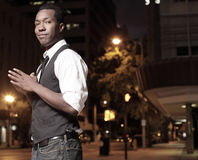 Stylish man in the city at night Stock Images