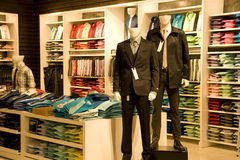 Stylish man clothing in store. For sale Stock Photography