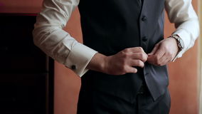 Stylish man dress shirt, suit and vest stock video footage