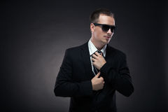 Stylish man in elegant black suit Royalty Free Stock Photography
