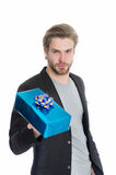 Stylish man with gift box or present for christmas Royalty Free Stock Photography