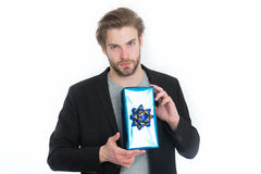 Stylish man with gift box or present for christmas Stock Images
