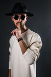 Stylish man in hat and sunglasses Royalty Free Stock Image