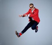 Stylish man having fun jumping Stock Photos