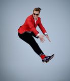 Stylish man having fun jumping Royalty Free Stock Photo