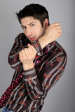 Stylish Man In A Shirt With Stripes Stock Image