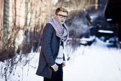Stylish man in a jacket, sweater, scarf and glasse Royalty Free Stock Photography