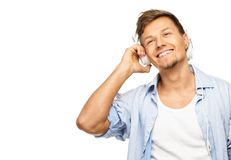 Stylish man listens music Royalty Free Stock Images