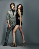 Stylish Man and Luxurious Woman. Luxurious Fashion Couple Flirting Royalty Free Stock Images