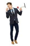 Stylish man with megaphone Royalty Free Stock Photo