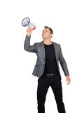 Stylish man with megaphone Stock Photos