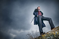 Stylish man over sky background Royalty Free Stock Image