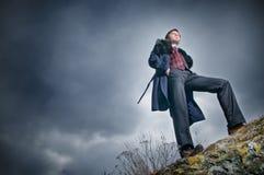 Stylish man over sky background Royalty Free Stock Image