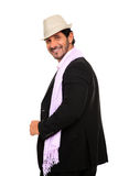 Stylish man portrait wearing a hat. Stylish man wearing a hat  isolated on a white background Stock Image
