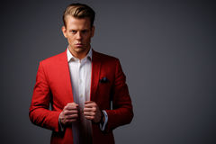 Stylish man in red jacket.  royalty free stock image