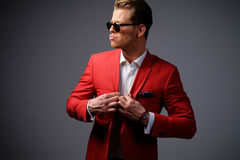 Stylish man in red jacket Stock Images