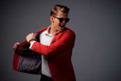 Stylish man in red jacket Royalty Free Stock Images