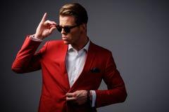 Stylish man in red jacket Stock Photo