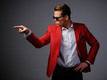 Stylish man in red jacket Royalty Free Stock Photography