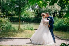 A stylish man in a suit in a cage hugs his beloved and buries his face in her blond hair. The bride in a gorgeous dress stock image