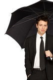 Stylish Man with Umbrella Royalty Free Stock Photos