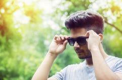 Stylish man wearing black shades portrait Royalty Free Stock Image