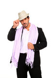 Stylish man wearing a hat and scarf. Isolated on a white background Royalty Free Stock Images