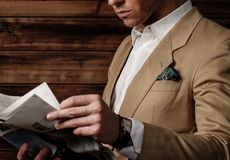 Stylish man wearing jacket stock images