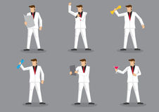 Stylish Man in White Suit Vector Character Set Stock Photography