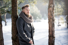 Stylish man in winter scenery Royalty Free Stock Images