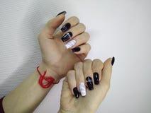 stylish manicure with a design stock photo