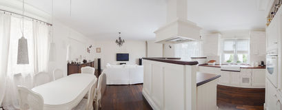 Stylish mansion in white. Classic stylish mansion with white furniture and wooden floor royalty free stock photography